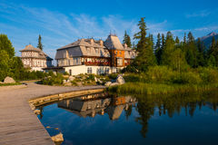 Resort area near mountain lake in National Park High Tatra Royalty Free Stock Images