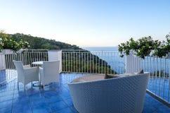 Resort Balcony Overlooking the Mediterranean Sea Royalty Free Stock Photos