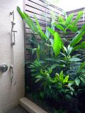 Resort bathroom shower semi outdoors