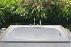 Resort bathroom shower semi outdoors. In Bali, Indonesia Stock Photo
