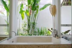 Resort bathroom shower semi outdoors. In Bali, Indonesia Stock Photos