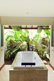 Resort bathroom shower semi outdoors Royalty Free Stock Images