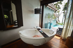 Resort bathroom spa tub Stock Images