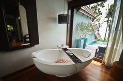 Resort bathroom spa tub stock images