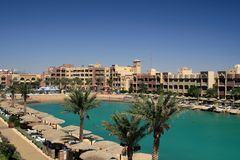Resort  beach in Egypt Royalty Free Stock Photo