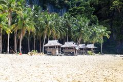 Resort on the beach of El Nido, Philippines. This photo was taken in Palawan island. El Nido Palawan Philippines has some of the most beautiful scenery we have stock photo