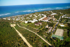 Resort on  beach from helicopter Royalty Free Stock Photo