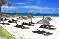 Resort beach in Mauritius island Royalty Free Stock Photo