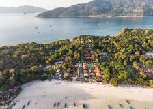 Resort on the beach in tropical sea at lipe island royalty free stock photography