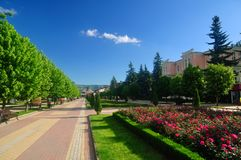Resort Boulevard. Kislovodsk. Russia. A beautiful alley with flower beds in the resort town. Kislovodsk. Russia royalty free stock photos