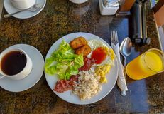 Resort buffet breakfast. Breakfast style I ate at a resort during my trip to Boracay Philippines Stock Images