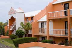 Resort buildings. Bright color resort building in carribeean with beautiful landscape Royalty Free Stock Photos