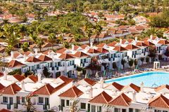 Resort buildings. A view of  a crowded cluster of buildings at the resort of Maspalomas on Gran Canaria in the Canary Islands Royalty Free Stock Image