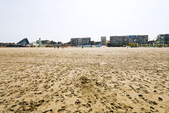 Resort buildings on sand beach in Le Touquet Royalty Free Stock Photo