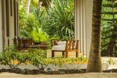 Resort bungalow near the beach stock photo