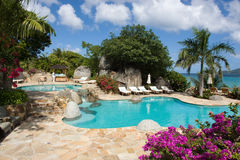 Resort in the Caribbean. Swimming pool in a resort in Leverick Bay,Virgin Gorda, British Virgin Islands Stock Photo