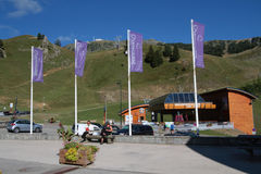 Resort of Chamrousse. CHAMROUSSE, FRANCE, August 20, 2015 : The mountain resort of Chamrousse is the nearest ski station from Grenoble and a well-known place for Stock Photos