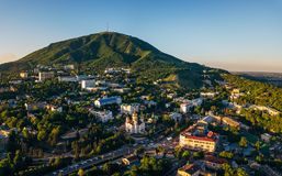 Resort city Pyatigorsk, aerial view from drone royalty free stock images