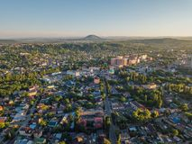 Resort city Pyatigorsk, aerial view from drone royalty free stock photo