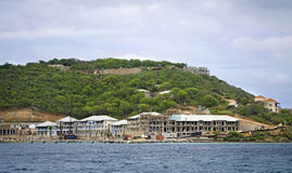 Resort construction. On the shoreline of a tropical island Royalty Free Stock Images