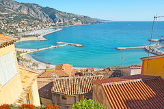 The resort of Cote d`Azur. Menton is the old picturesque town, located on Cote d`Azur and named the Pearl of French Riviera, France stock photography