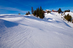 Resort covered with snow Crater Lake, Oregon Stock Photo