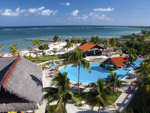 Resort in Cuba. High view of Las Brisas hotel in Guardalavaca (Cuba) with swimming pool, beach and sea Royalty Free Stock Photos