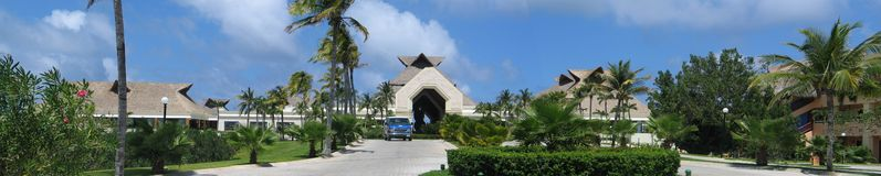 Resort Entrance. A panorama view of the entrance to an expensive Mexican resort Stock Image
