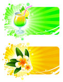 Resort frames with cocktail & tropical flowers Stock Photo