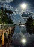 Gazebo and moon in waters reflection Royalty Free Stock Photos
