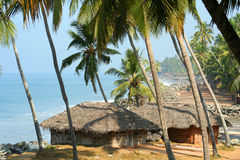 Huts on cliffs in Goa Stock Image