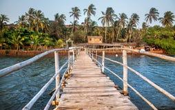 Resort in Goa. Wooden bridge to restaurant and resort in Goa, India stock images