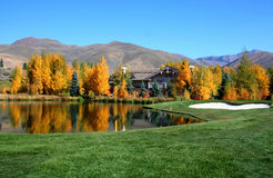 Resort Golf. Autumn colors at Idaho resort golf course Stock Photos