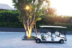 Resort Golf Car waiting for passenger. Royalty Free Stock Images