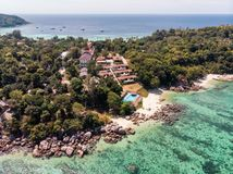 Resort on hill in tropical sea at lipe island stock photography
