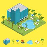 Resort Hotel Building Isometric View. Vector Royalty Free Stock Photography