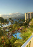 Resort hotel at dusk. Evening view from a balcony on a resort hotel in Hawaii royalty free stock photo