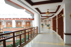 A resort hotel indoor corridor Stock Photo