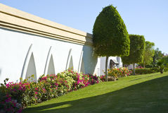 Resort hotel landscaping. A view of flowers, shrubs and manicured trees that make up the landscaping around a luxury resort hotel in Sharm el Sheikh, Egypt Stock Photography