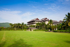 Resort hotel with lawns Stock Photos