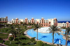 Resort hotel in Makadi bay Egypt. Hotel in moroccan style in Egypt, with swimming-pools Royalty Free Stock Photography