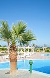 Resort hotel with a pool. Tropical resort hotel with beautiful pool in foreground Royalty Free Stock Photography