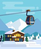 Resort with hotel with a ski lift. Vector flat Royalty Free Stock Images