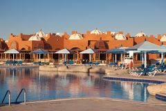 Resort in Hurghada. Yard with swimming pool of the holiday resort in Hurghada, Egypt Stock Photography