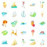 Resort icons set, cartoon style. Resort icons set. Cartoon set of 25 resort vector icons for web isolated on white background Royalty Free Stock Images