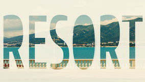 Resort inscription on picturesque sea recreation landscape. Journey Vacation Leisure Travel Worldwide Concept Stock Photo