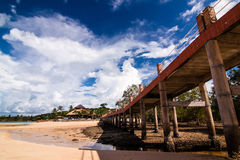 Resort island at low tide Stock Images