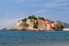 Resort island of Sveti Stefan. Montenegro morning Royalty Free Stock Image