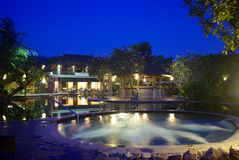 Resort Jacuzzi pool at night Royalty Free Stock Images