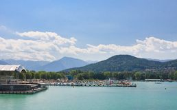 Resort Klagenfurt. Coast of lake Worth . Austria Stock Image